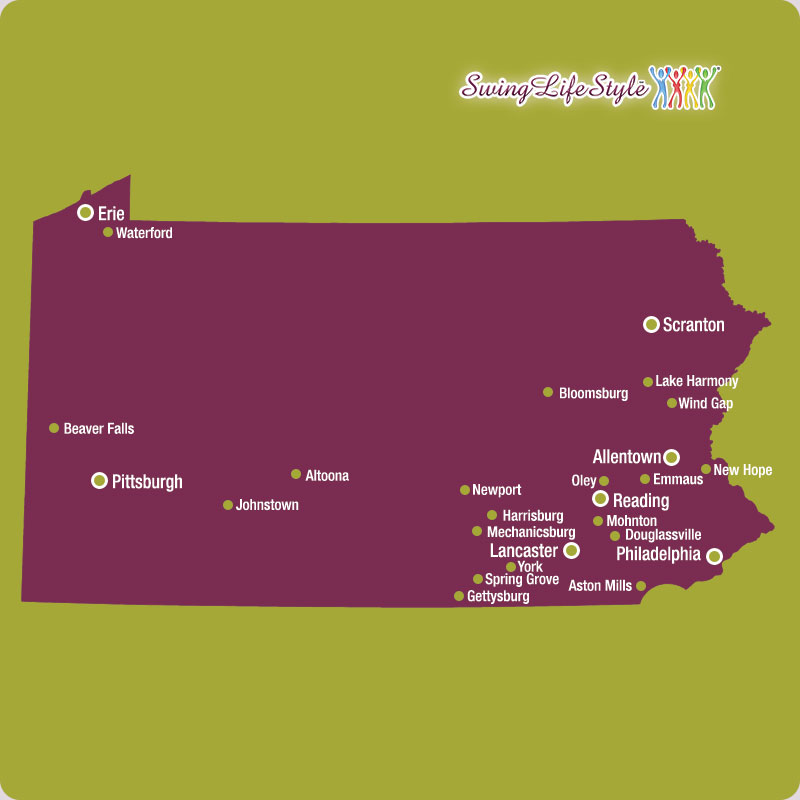 Pennsylvania Swingers Clubs Map
